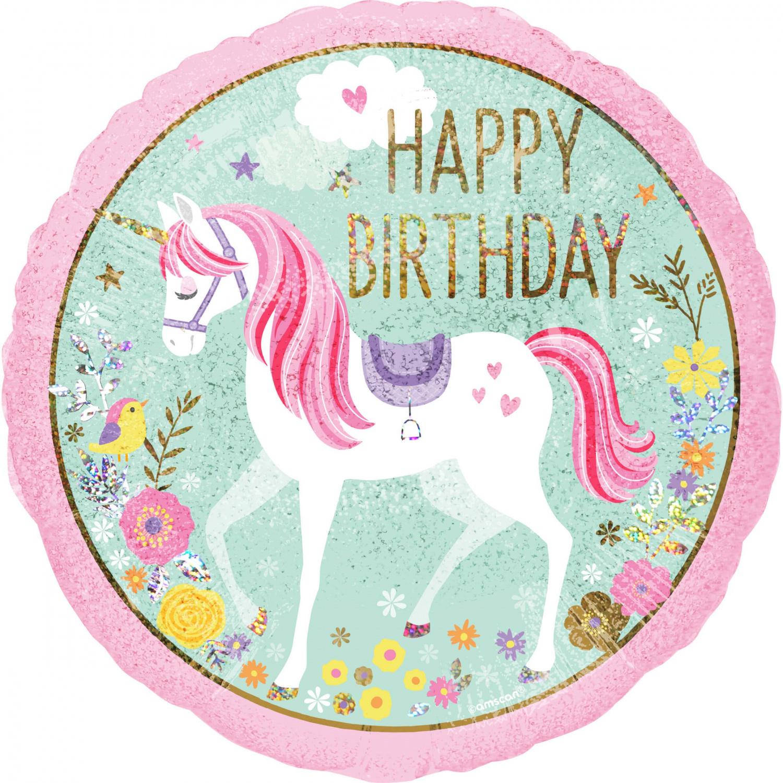 folieballon happy birthday eenhoorn holografisch  45 cm
