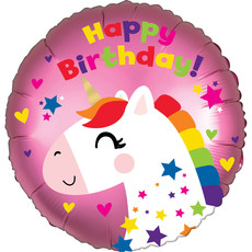 Folieballon Happy Birthday Unicorn Roze - 45 cm