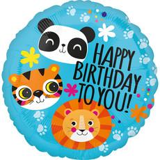 Folieballon Happy Birthday Dieren - 45 cm