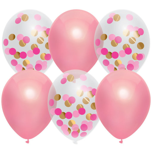Ballonnen Mix Princess Pink 30cm 6 stuks