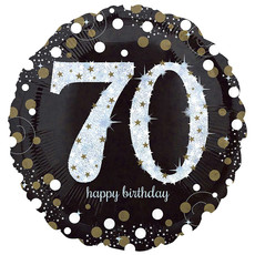 FolieBallon 70 jaar happy birthday sparkling gold 43cm