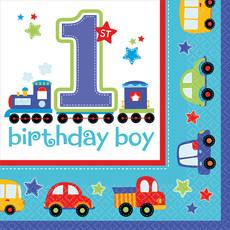 Servetten 1 Jaar Birthday Boy Auto's - 16 Stuks
