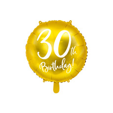 Folieballon 30th Birthday goud (45cm)