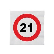 16 Servetten verkeersbord 21 jaar