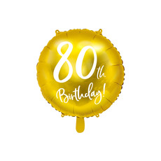 Folieballon 80th Birthday goud (45cm)