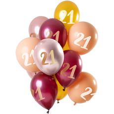 Ballonnen 21 Jaar Roze Rood Goud Premium - 12 Stuks