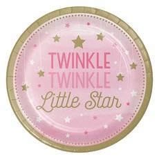 Bordjes Twinkle Little Star Roze - 8 Stuks