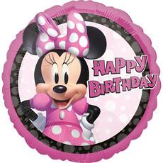 Folieballon Minnie Mouse Happy Birthday Rond - 43 cm