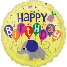 Folieballon Happy Birthday Olifant Geel - 45 cm