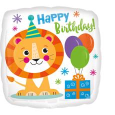 Folieballon Happy Birthday Leeuw - 45 cm