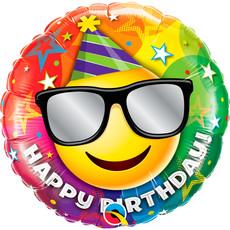 Folieballon Happy Birthday Emoticon - 45 cm