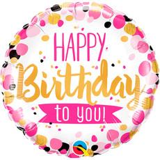Folieballon Happy Birthday Roze/Goud - 45 cm