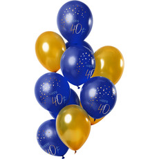 Ballonnen Set 40 Jaar Blauw/Goud - 12 Stuks
