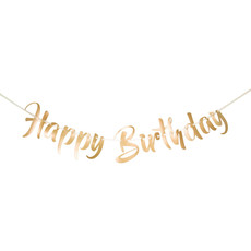 Gouden Letterslinger Happy Birthday - 1 Meter