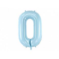 Folieballon cijfer 0 lichtblauw 86cm