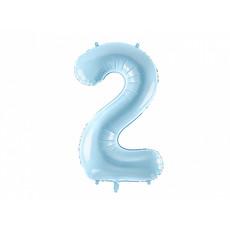 Folieballon cijfer 2 lichtblauw 86cm