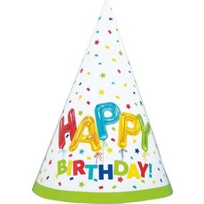 Feesthoedjes Happy Birthday Ballonprint - 8 Stuks