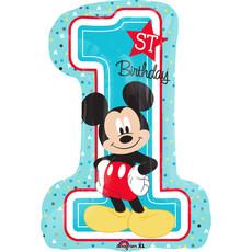 Folieballon 1st Birthday Mickey Mouse XL cijfer