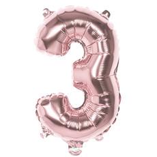 Cijfer Ballon '3' Folie Rosé Goud 36cm