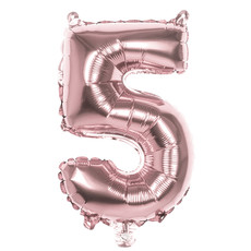 Cijfer Ballon '5' Folie Rosé Goud 36cm