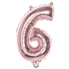 Cijfer Ballon '6' Folie Rosé Goud 36cm