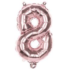 Cijfer Ballon '8' Folie Rosé Goud 36cm