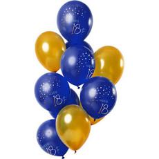 Ballonnen set 18 Jaar Blauw Goud - 12 stuks