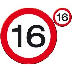 16 Jaar Verkeersbord Placemat en Onderzetter Set - 4x