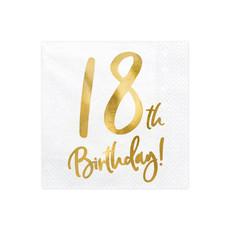 Servetten 18th Birthday Goud - 20 Stuks