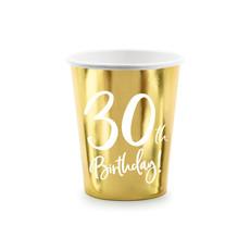 Feestbekers 30th Birthday Goud - 6 Stuks