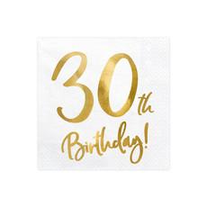 Servetten 30th Birthday Goud - 20 Stuks