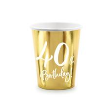 Feestbekers 40th Birthday Goud - 6 Stuks