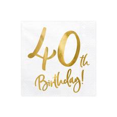 Servetten 40th Birthday Goud - 20 Stuks
