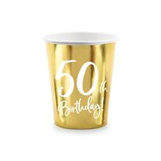 Feestbekers 50th Birthday Goud - 6 Stuks