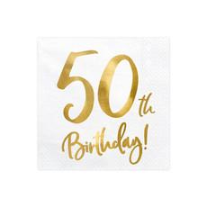 Servetten 50th Birthday Goud - 20 Stuks