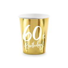 Feestbekers 60th Birthday Goud - 6 Stuks