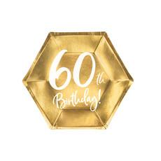 Bordjes 60th Birthday Goud - 6 stuks