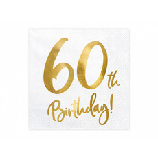 Servetten 60th Birthday Goud - 20 Stuks