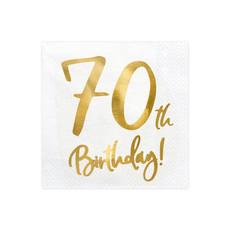 Servetten 70th Birthday Goud - 20 Stuks