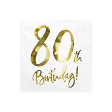Servetten 80th Birthday Goud - 20 Stuks