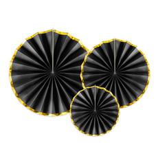 Decoratieve Rozetten Zwart Met Gouden Rand (3st)