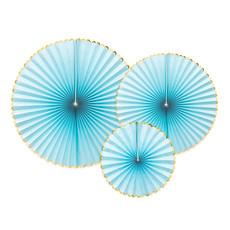 Decoratieve Rozetten Lichtblauw Met Gouden Rand (3st)