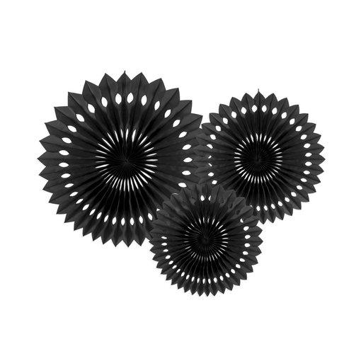 Papieren Waaiers Set Zwart 3-delig