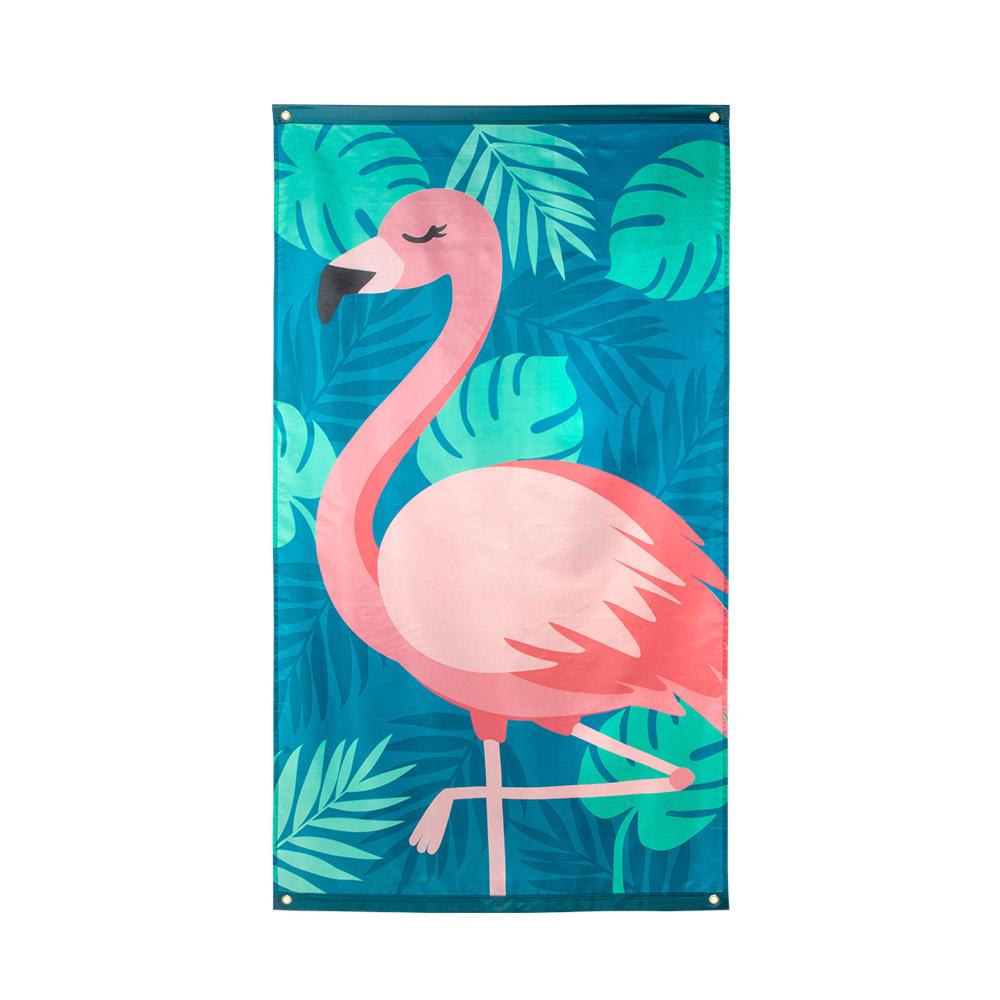 Boland vlag Flamingo junior 150 x 90 cm polyester blauw/groen/roze online kopen