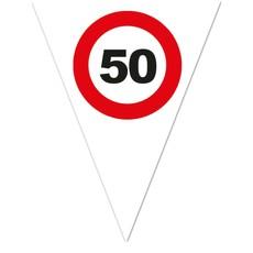 Vlaggenlijn Verkeersbord 50 Jaar Wit - 5 Meter