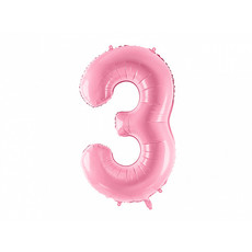 Folieballon cijfer 3 roze 86cm