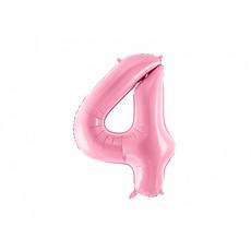 Folieballon cijfer 4 roze 86cm