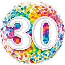 Rainbow Confetti folieballon 30