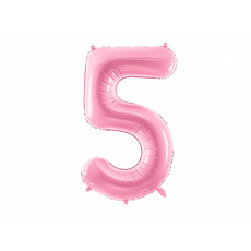 Folieballon cijfer 5 roze 86cm
