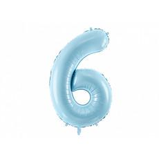 Folieballon cijfer 6 lichtblauw 86cm